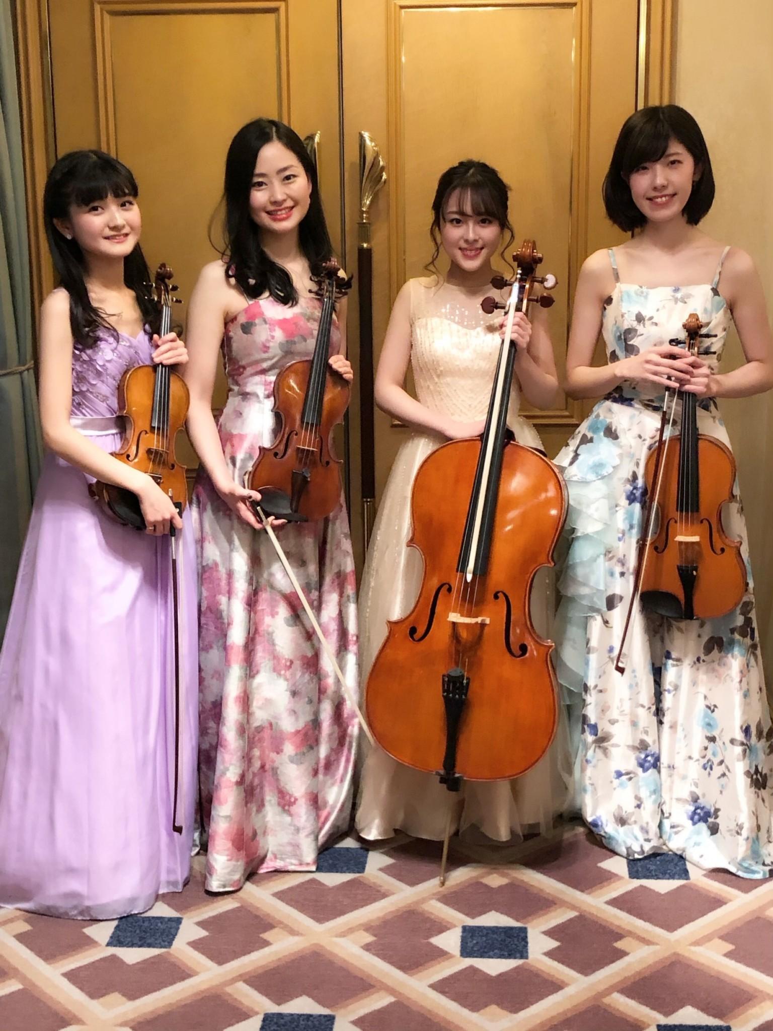 弦楽四重奏の生演奏でした 周年記念でとても人気な編成です