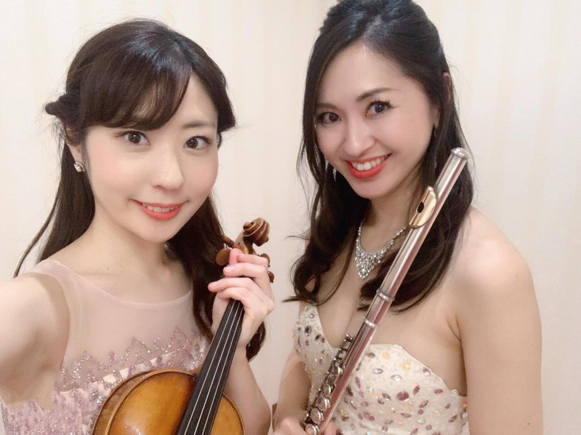 フルートとヴァイオリンの二重奏でクラシック曲を演奏しました