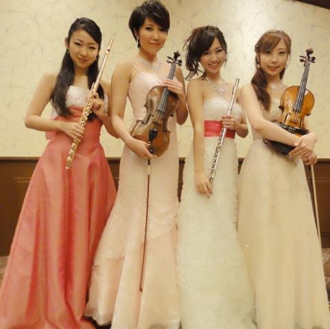 ヴァイオリン、フルートの4名編成でのご依頼でした
