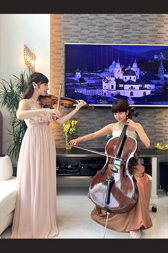 ヴァイオリンとチェロの二重奏生演奏
