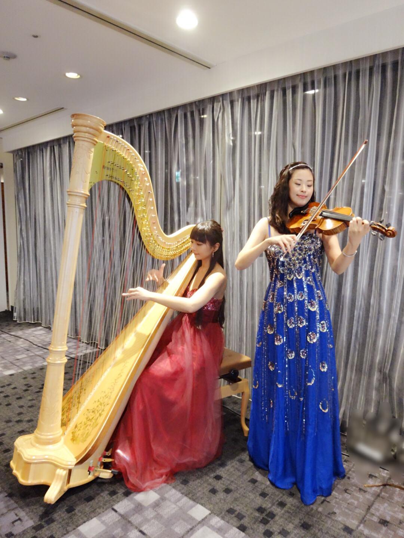 ハープとヴァイオリンの二重奏はパーティー演奏で人気があります