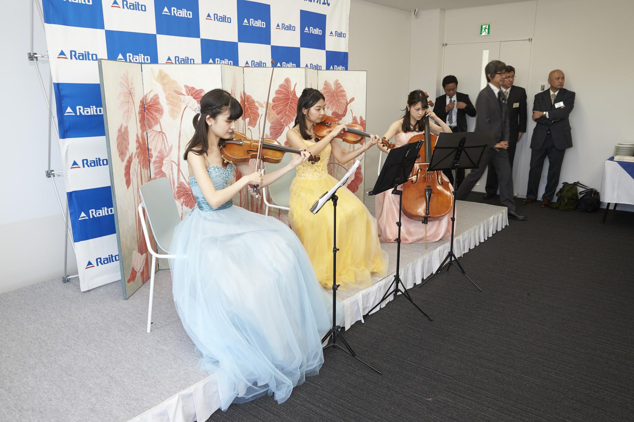 弦楽三重奏で記念式典生演奏でした