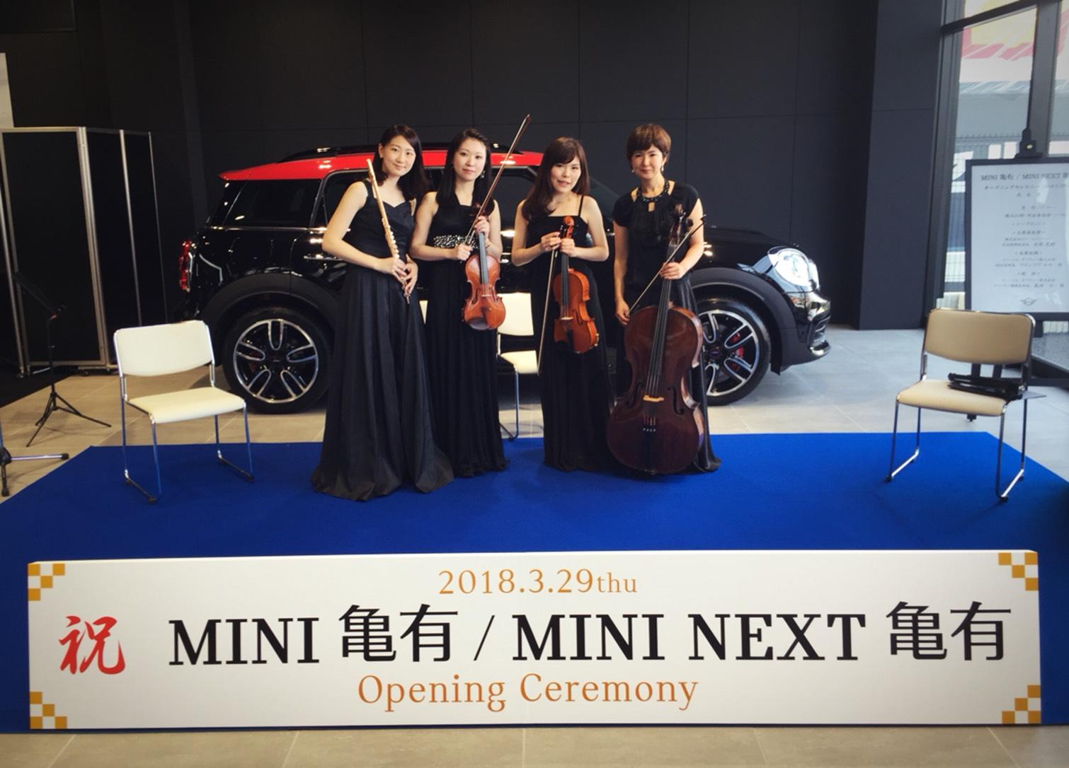 フルート、ヴァイオリン、ヴイオラ、チェロの4名編成でした