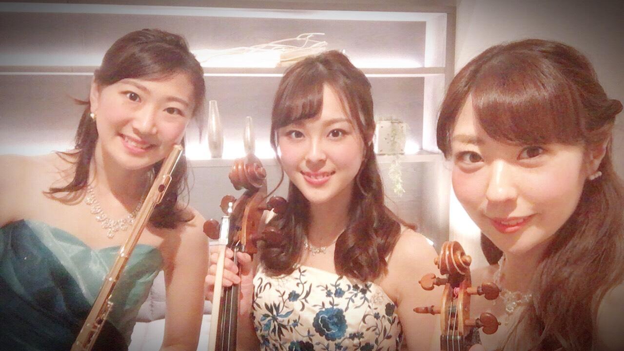 フルート、ヴァイオリン、チェロのフルートトリオ演奏でした