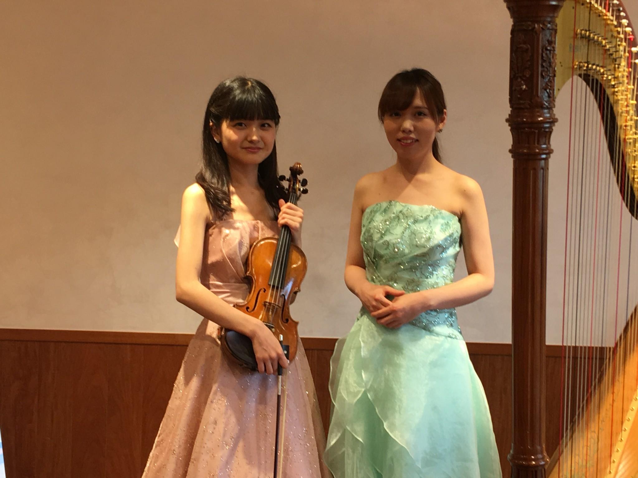 ヴァイオリンとハープの生演奏のご依頼でした