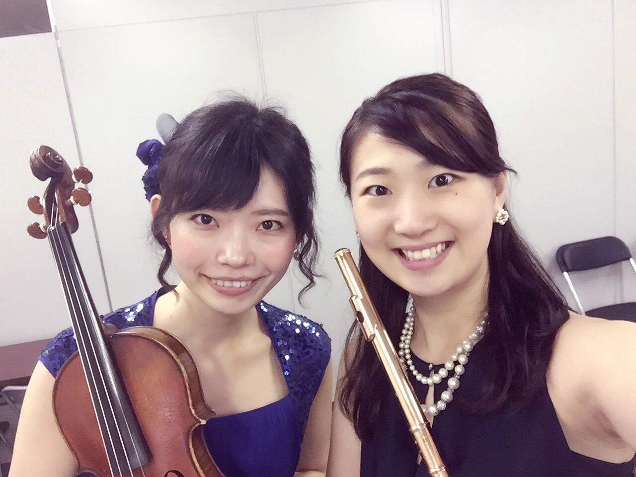 ヴァイオリンとフルートでクラシックコンサートでした