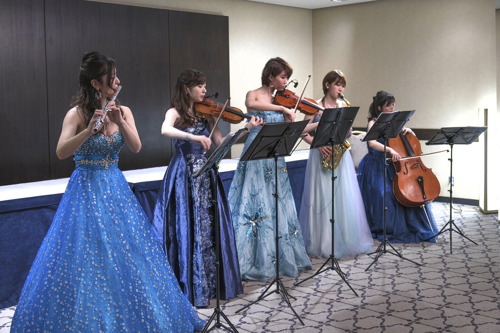 華やかなドレス姿の美人演奏家の生演奏