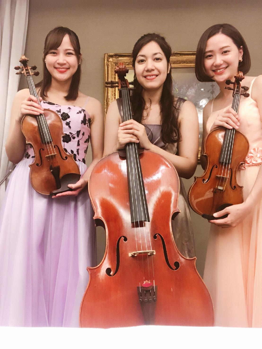 弦楽三重奏の美人演奏家です