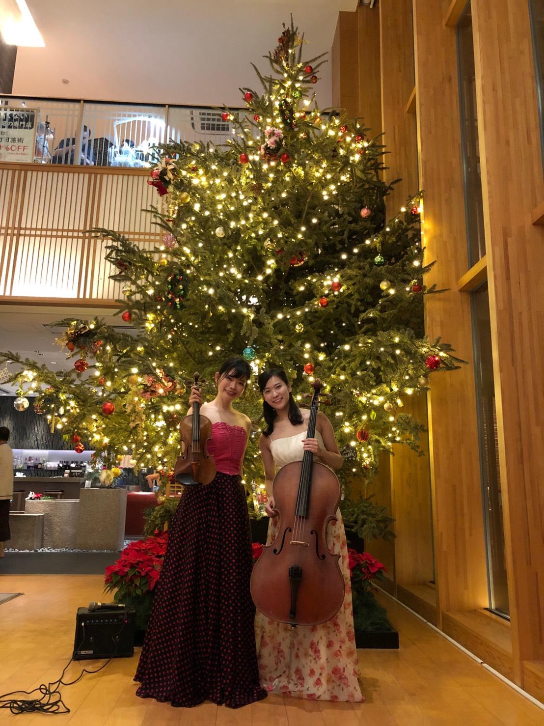 ヴァイオリンとチェロの美人演奏家
