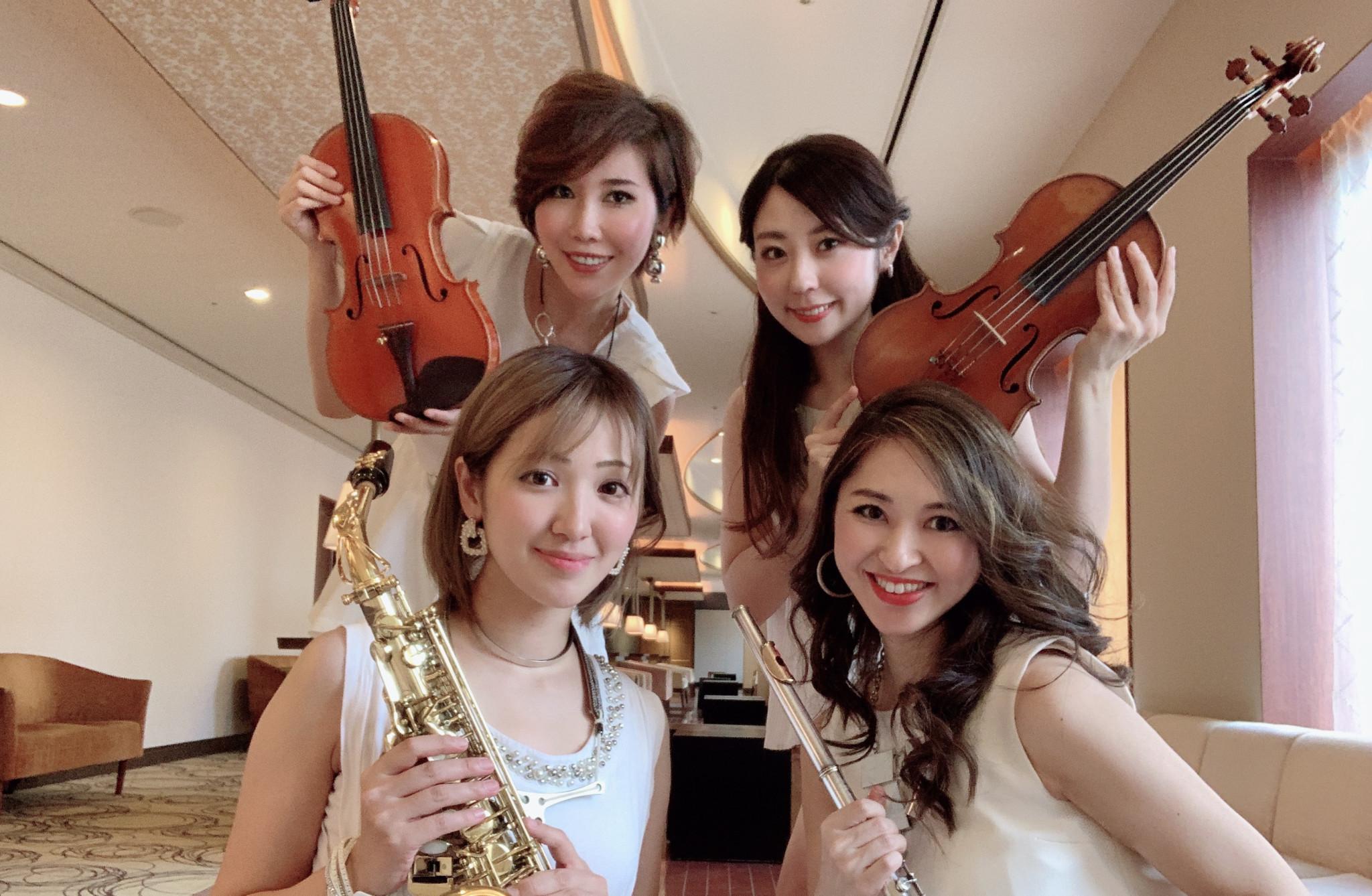 美人演奏家の余興演奏は人気があります