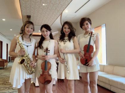 フルート、サックス、ヴァイオリンの美人演奏家