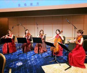 フルートと弦楽四重奏でクラシック生演奏でした