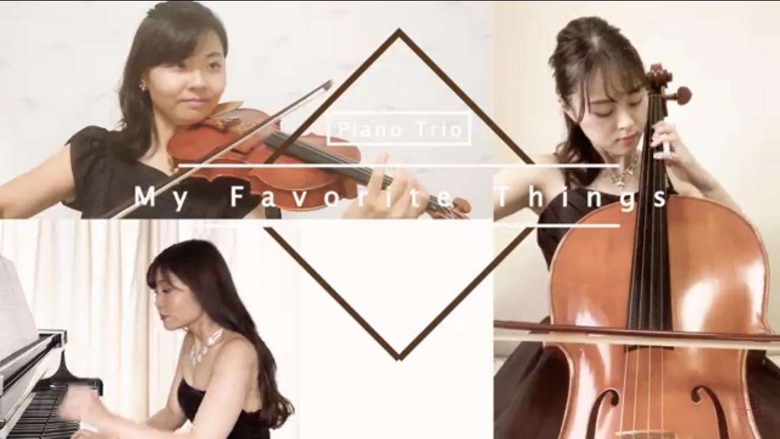 ヴァイオリン、チェロ、ピアノでテレワーク演奏でした